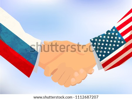 USA and Russia handshake, concept illustration on sky background Stock photo © evgeny89