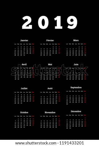 2019 year simple calendar on french language, a4 vertical sheet isolated on white Stock photo © evgeny89