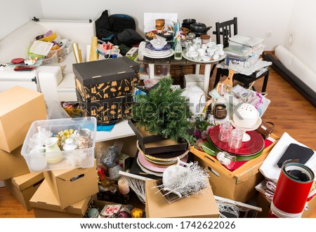 Messy room full of clutter and junk - Compulsive hoarding disorder Stock photo © brebca