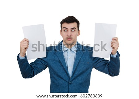 Portrait of stressed caucasian man wondering and holding smartph Stock photo © deandrobot