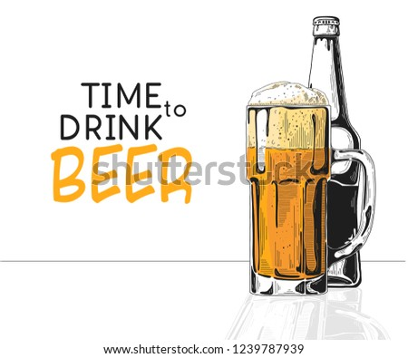 Bottle of beer. Glass with beer. Caption: time to drink beer. Vector illustration of a sketch style Stock photo © Arkadivna