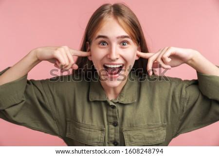 Fotografia zachwycony kobieta kłosie uśmiechnięty Zdjęcia stock © deandrobot