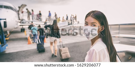Virus mask Asian woman travel wearing face protection in prevention for coronavirus in China. Lady w Stock photo © Maridav