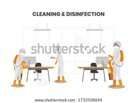 COVID-19 Coronavirus disinfection of workspace cleaning disinfecting wipes to wipe surface of desk,  Stock photo © Maridav