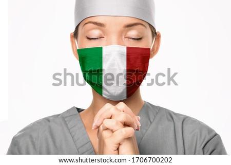 Itália bandeira imprimir máscara cirúrgica médico oração Foto stock © Maridav