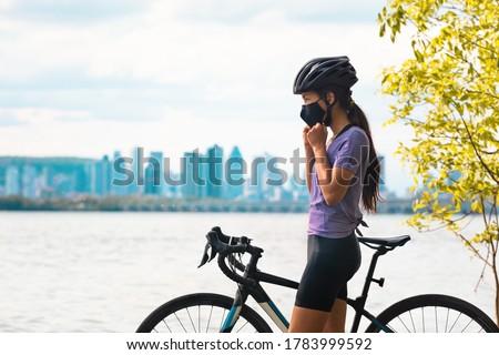 Spor bisikletçi kadın yol bisiklet Stok fotoğraf © Maridav