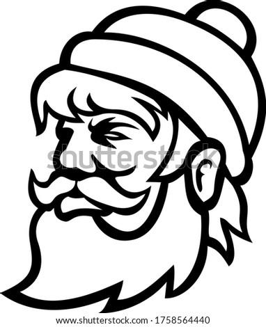 Hoofd houthakker zijaanzicht mascotte zwart wit illustratie Stockfoto © patrimonio