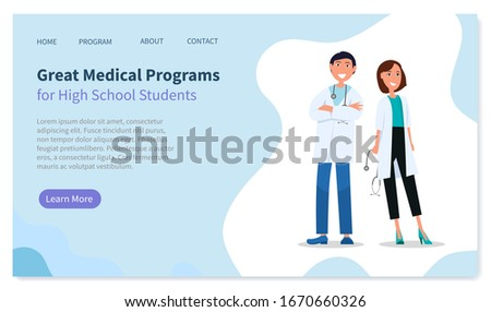 Landing page of website, great medical programs for high school students, medical education Stock photo © robuart