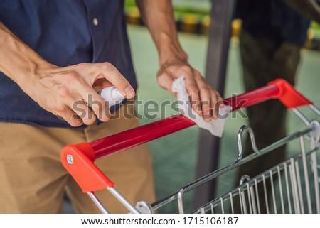 Férfi kéz bevásárlókocsi alkohol spray vírus Stock fotó © galitskaya