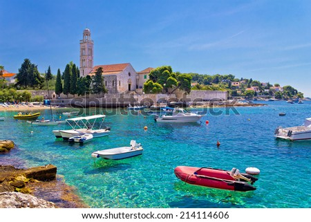 Turquoise sea of Hvar island, franciscian monastery view in Dalm Stock photo © xbrchx