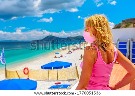 Summer vacation on beach during epidemic covid. Social distance against coronavirus concept illustra Stock photo © orensila