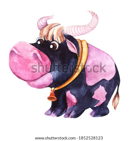 Watercolor illustration of black bull with white spot in knitted blue hat Stock photo © Natalia_1947
