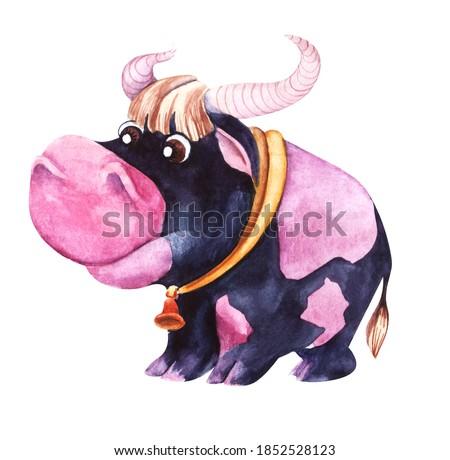 Acuarela ilustración negro toro blanco terreno Foto stock © Natalia_1947
