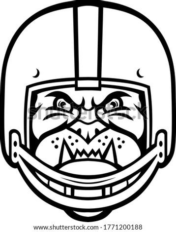 Bulldog Wearing American Football Helmet Front View Mascot Black and White Stock photo © patrimonio