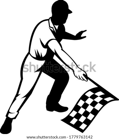 Flagman Race Official Waving Checkered or Chequered Flag Finish Line Retro Retro Black and White Stock photo © patrimonio
