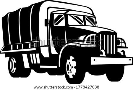 Wojskowych ciężarówka pojazd personel transportu retro Zdjęcia stock © patrimonio