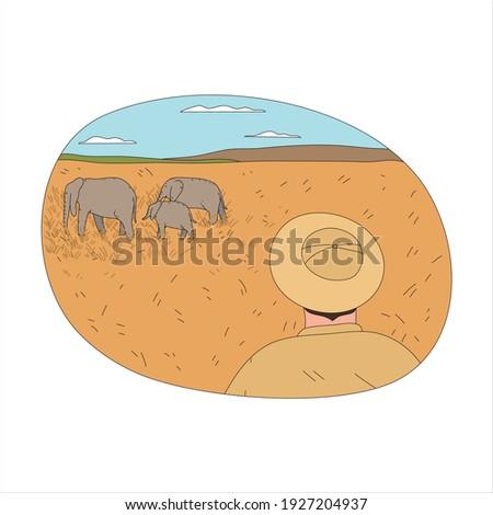 Férfi lovaglás elefánt afrikai szavanna tájkép Stock fotó © robuart