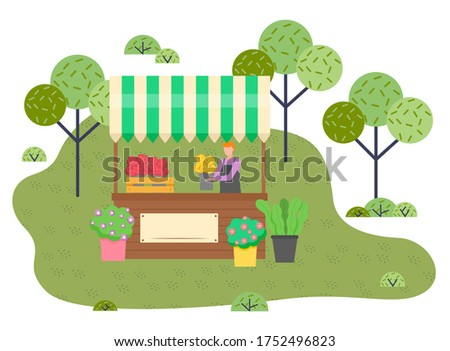 Outdoor marketplace, man florist selling beautiful flowers, flower composition, fresh blooming plant Stock photo © robuart