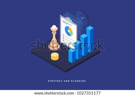 Plan stratégique isométrique icône vecteur signe couleur Photo stock © pikepicture
