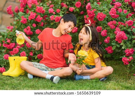 little girl dressed in florist and a little boy dressed in grape harvester Stock photo © photography33