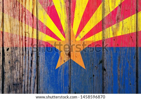 Foto stock: Bandeira · Arizona · grunge · textura · preciso