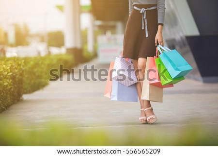 Güzel mutlu kadın çok alışveriş Stok fotoğraf © Len44ik