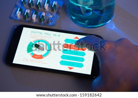 Concept Of Futuristic Medicines Choose Your Pill Type On High T Photo stock © Elisanth