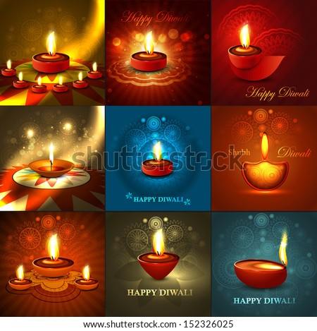 happy diwali beautiful 9 collection presentation colorful hindu stock photo © bharat