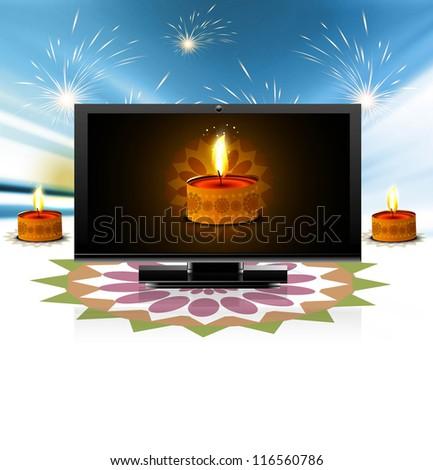 Beautiful celebration happy diwali led tv screen festival rangol Stock photo © bharat