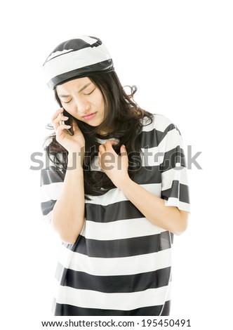 Jungen asian Frau sprechen Handy einheitliche Stock foto © bmonteny