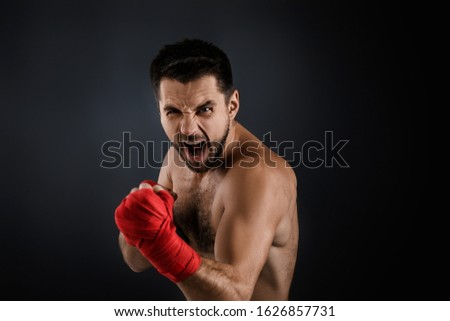 mains · musculaire · homme · bandage · formation · kickboxing - photo stock © feelphotoart