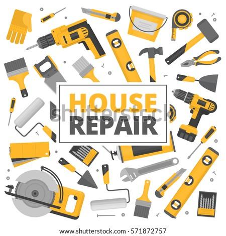 Dolgozik szerszámok építkezés karbantartás ikon szett eps10 Stock fotó © LoopAll
