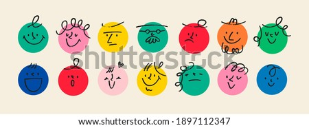abstrato · estilo · emoticon · desenho · animado · faces - foto stock © feabornset