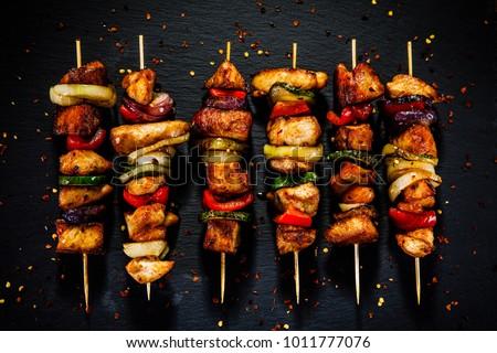 Carne grelhada salada prato comida saúde verde Foto stock © fuzzbones0