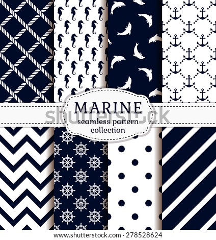nautical or marine themed seamless pattern with anchor and helm stock photo © netkov1
