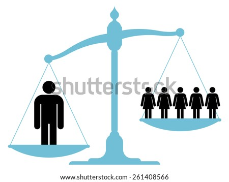 Scale weighing single man versus a group of women Stock photo © adrian_n