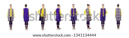 Modèle pourpre pants jaune blouse Photo stock © Elnur