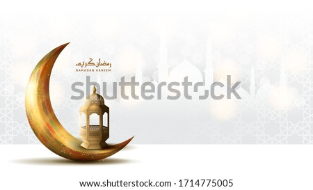 Ramadan Kareem. Ramadan Mubarak. Pray. Greeting card. Arabian night with Crescent moon. Stock photo © Leo_Edition