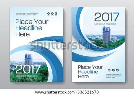 Kék éves jelentés brosúra borító oldal Stock fotó © SArts
