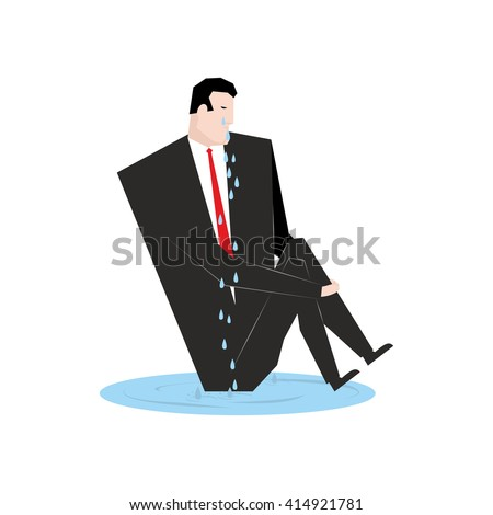 Businessman is crying. boss and puddle of tears. Vector illustra Stock photo © MaryValery