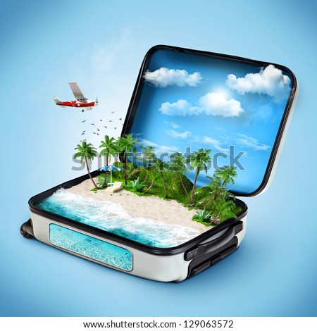 Summer vacation on tropical island. Open suitcase on sand among palms Stock photo © orensila