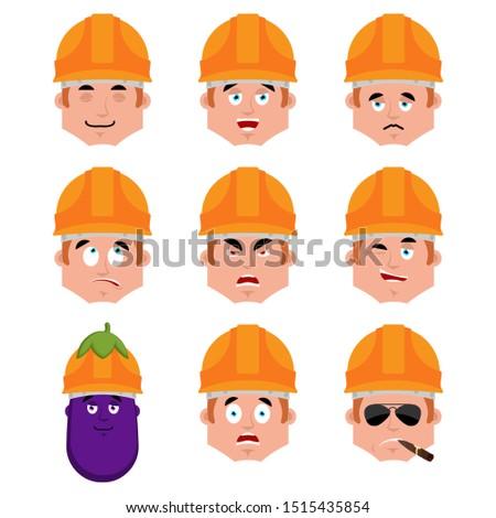 builder happy emotion avatar worker in protective helmets merry stock photo © popaukropa