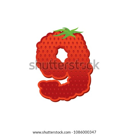 Number 9 Strawberry font. Red Berry lettering nine alphabet. Fru Stock photo © popaukropa