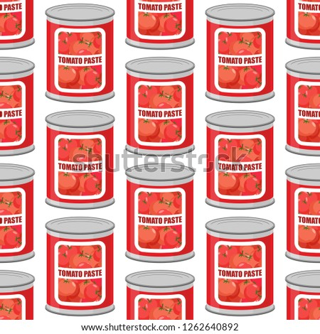 Tomato paste seamless pattern. Cans texture. Iron pot with tomat Stock photo © popaukropa