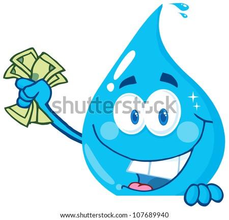 Azul gota de agua mascota de la historieta carácter dólar Foto stock © hittoon