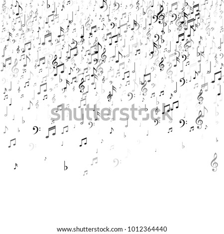music illustration with falling notes on white background vector design for banner poster greetin stock photo © articular