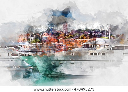 Picture of port of Cannes old city at the French Riviera, France Stock photo © FreeProd