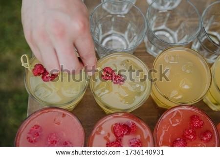 elegáns · üveg · citromsárga · pezsgő · málna · friss - stock fotó © DenisMArt