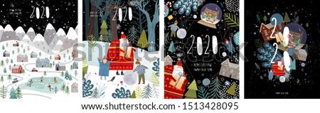 Kış manzara yılbaşı Noel poster köy Stok fotoğraf © makyzz
