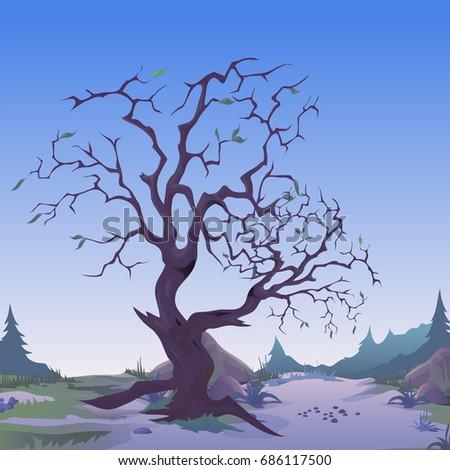 vetor · solitário · árvore · secar · deserto · céu - foto stock © lady-luck
